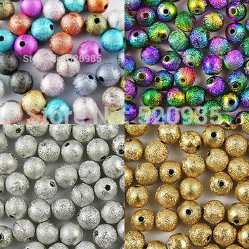 Mixed/Silver/Gold/Rainbow Stardust Acrylic Round Ball Spacer Beads Charms Findings 4/6/8/10/12/20mm For Jewelry Making Craft DIY