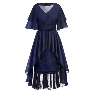 Large Size Women's Vintage Lace Dresses Country Rock Cocktail Casual Dress Summer A-Line Short Sleeve Higth Waist Vestidos New