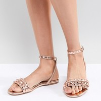 Faith Pyramid Rose Gold Stud Flat Sandals at asos.com