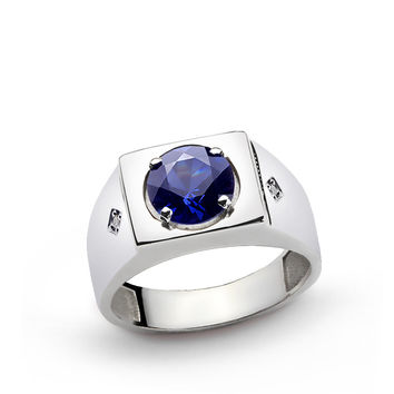925 K Sterling Silver Men's Ring with 4 ct Sapphire and 0.02 ct Diamonds