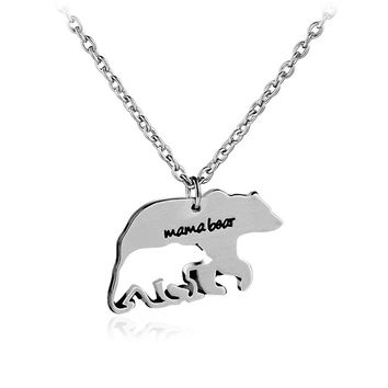 zheFanku Silver Color Personalized Bear Necklace Mother Necklace Mothers Day Gift For Mom Fashion Jewelry Necklace