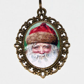Rustic Santa Necklace, Christmas Jewelry, Santa Claus, Bronze Oval Pendant
