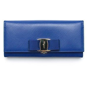 Salvatore Ferragamo Ocean Blue Leather Wallet New