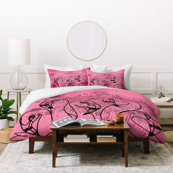 Lisa Argyropoulos Pink Flamingos Duvet Cover