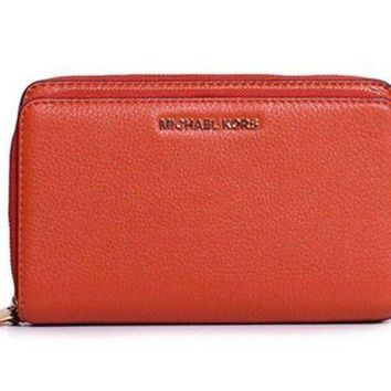 MICHAEL KORS Adele DOUBLE ZIP WALLET Wristlet ORANGE Pebbled LEATHER $168 - NWT