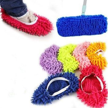 DCCKL72 1 Piece Microfiber Mop Floor Cleaning Lazy Fuzzy Slippers House Home Flooring Tools Shoes Bathroom Kitchen Cleaner