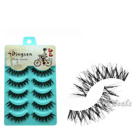 5 Pairs New Fashion Women  Natural Soft Cross Long Eye Lashes Makeup Handmade Thick Fake False Eyelashes High Quality Hot