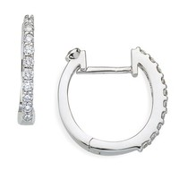 Women's Roberto Coin Small Diamond Hoop Earrings - White Gold
