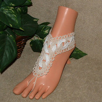 Crochet Wedding Ring Barefoot Sandals, Friendship, Anklet, Shoes, Accessories, Circled Chain, Jewelry, Bottomless, Footless