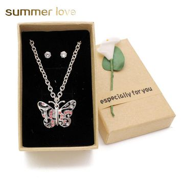 Silver color Crystal Lovely Butterfly Pendant Necklace Long Chain Statement Jewelry Charms for Girls Child collier with Gift Box