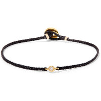 SCOSHA - Precious Braid gold-tone, diamond and cord bracelet