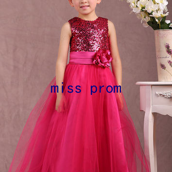 Fuchsia tulle and sequins ruffle with sash flowers flower girl dress