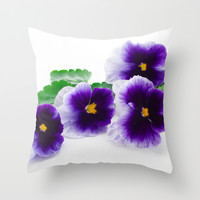 beautiful purple pansy  Throw Pillow by Yumehana Design Fine Art Photography