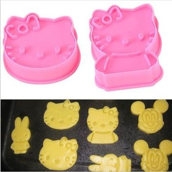 2PCS/Lot Hello Kitty shape mold sugar Arts set Fondant Cake tools Plastic cookie cutters kitchen accessories Free shipping