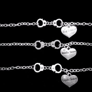3 Bracelets Handcuff Big Sister Middle Little Sister Partners In Crime Set