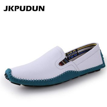 JKPUDUN Plus Size Mens Penny Loafers Driving Shoes Casual Genuine Leather Luxury Brand Italian Fashion Man White Flats Moccasins