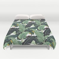banana leaf pattern Duvet Cover by Mintz Mind
