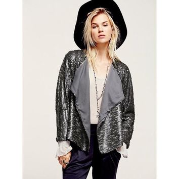 Free People Gray Drippy Sequin Jacket