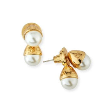 Tory Burch Pearly Bud Jacket Earrings, Ivory/Gold