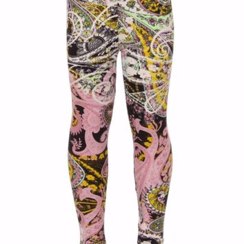Girl's Paisley Leggings Pink/Ivory/Yellow/Black: S/L