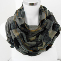 Men's Scarf - Men's Plaid Scarf - Unisex Scarf - Gray Beige Black Men - Christmas Gifts - Men Gifts - Black Plaid Men's Scarves, plaid scarf