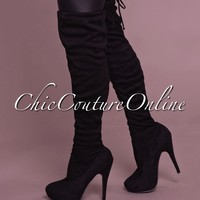 Compose Black Faux Suede Over-The-Knee Boots