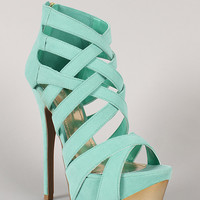 Liliana Reseda-45 Suede Strappy Caged Stiletto Platform Heel