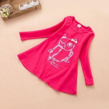Baby Girls Clothing Fashion 2017 Autumn Winter Owl Long Sleeve Girl Cartoon Dress Children Kids Clothes High Quality for 2-7 yrs