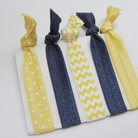 Fold Over Elastic Hair Yellow Navy Polka Dot Chevron Solid No Headache Ponytail Holders Yoga Bracelets