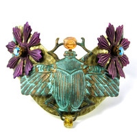 Turquoise Scarab Cuff, Wide Brass Bracelet, Purple Flowers, Rhinestones, Beetle, Bug, Insect, Nature, Egyptian Theme, Statement Jewelry