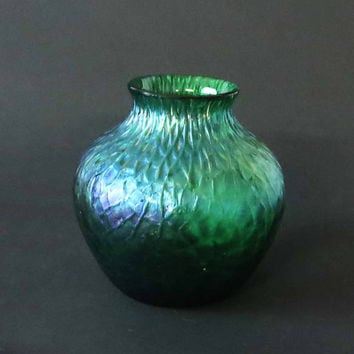Antique Kralik Vase, Kralik Martele Vase, Art Glass Vase, Iridescent Art Nouveau Glass Vase, Bohemian Art Glass