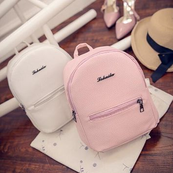 Sweet College Wind Mini Shoulder Bag High quality PU leather Fashion girl candy color small backpack female bag
