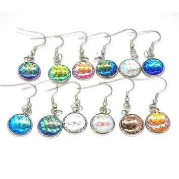 12Colors  Stainless Steel  Metal 12mm Fish Scale Earrings Bright Druzy Mermaid Scale Cabochon Hook Earrings for Women Jewelry