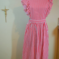 1940's Plus Size Red and White Striped Candystriper Pinafore Apron
