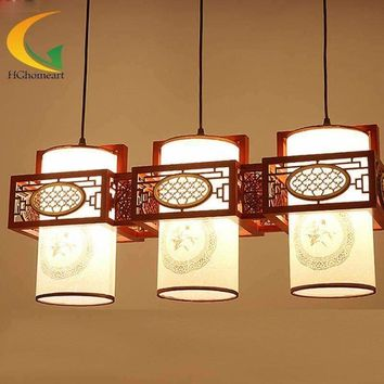 retro chandelier Chinese antique wood chandelier lighting lamp living room chandelier restaurant lights three lamps