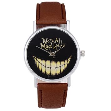 Faux Leather Analog Smiling Face Wrist Watch