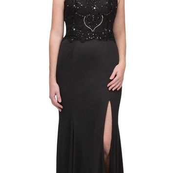 Black Halter Evening Gown Bead Appliqued Bodice with Slit