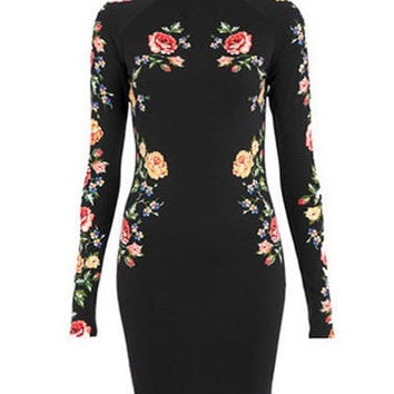 Black Floral Print Long Sleeve Bodycon Dress