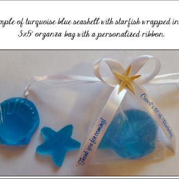 Starfish & Seashell Soap Favors - Nautical Beach Sea Themed Destination Wedding or Bridal Shower Favors with Personalized Ribbon Pack of 20