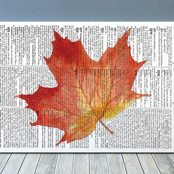 Autumn poster Fall leaf print Leaf art Watercolor print RTA1830