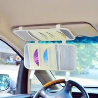 TFY Car Visor Organizer. Triple-layer, 30 CD/DVD Disk Storage Holder - Beige
