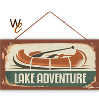 """Lake Adventure Sign, The Great Outdoors Sign, Rustic Canoe Decor, Camp Sign, Weatherproof, 5"""" x 10"""" Sign, Kid's Tree House, Made To Order"""