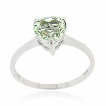 Sterling Silver Green Amethyst Solitaire Heart Ring