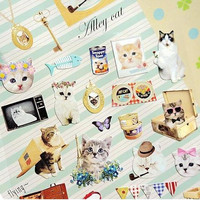 Cute Korean sticker lovely flower cat kawaii kitten kitty persian cat pet ribbon scrapbooking deco special card design cute image