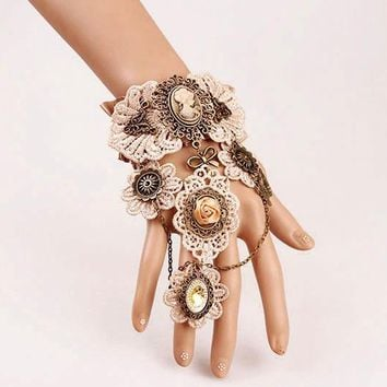 Victorian Gothic Lolita Lace Slave Bracelet Metal Chain Cameo Costume Bracelets Handmade Steampunk Gears
