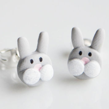 Rabbit Stud Earrings, Fimo, Polymer Clay, Miniature Bunny