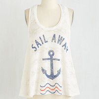 ModCloth Nautical Mid-length Sleeveless Let's Talk About You and Sea Top
