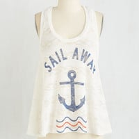 Nautical Mid-length Sleeveless Let's Talk About You and Sea Top by ModCloth