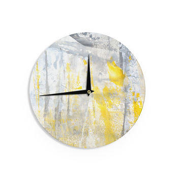 "CarolLynn Tice ""Abstraction"" Grey Yellow Wall Clock"