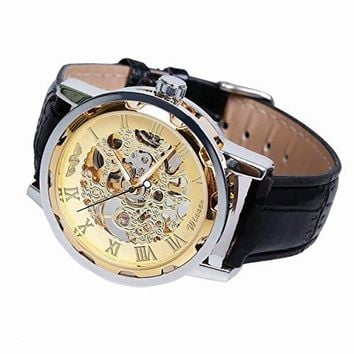 Classic Men's Leather Dial Skeleton Mechanical Sport Army Wrist Watch (Gold) (black)